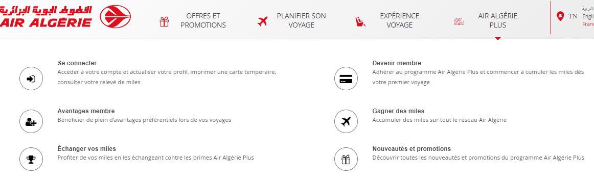 connexion compte air algerie plus