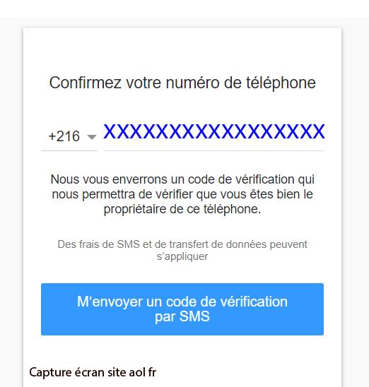 envoi code telephone