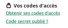 perte code secret