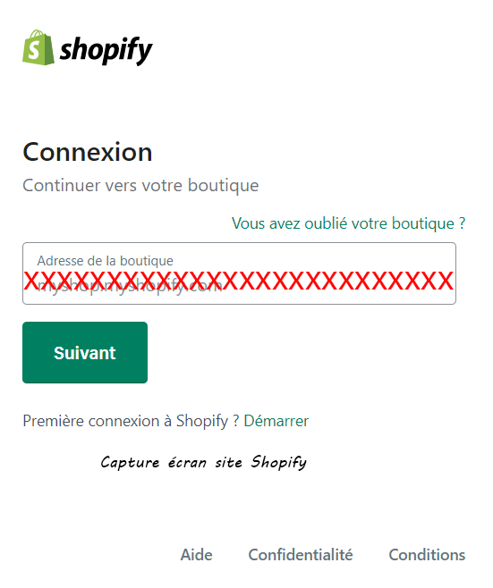acces compte shopify