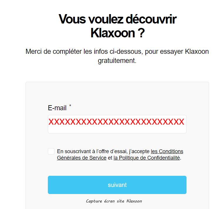 inscription compte Klaxoon